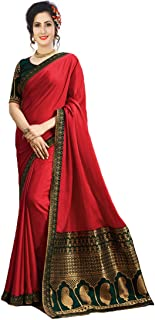 Macube Women's Silk Printed Saree with Printed Blouse Piece