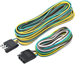 MICTUNING Trailer Wiring Harness Extension Kit - 4 Pin 25 Feet Male and 6 Feet Female Connector, 18 AWG Color Coded 4-Way Flat Wires for Under or Over 80 Inches Wide Trailers