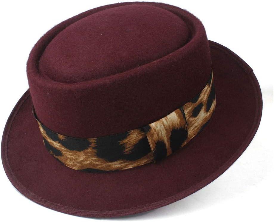 HXGAZXJQ Hxgang Fashion Men Pork Pie Hat Fedora Hat for Women Wool Flat Hat Vintage Cap Church FascinatorHat Size 58CM (Color : Wine red, Size : 58)