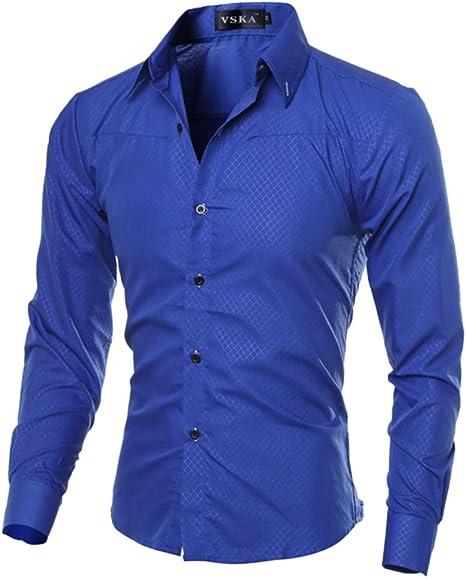 zhbotaolang Camisa de Manga Larga de los Hombres del Estilo ...
