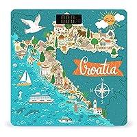 クロアチア旅行のランドマーク人々の食べ物 LCDディスプレイ付き高精度スマートフィットネススケール体重デジタルバスルームボディスケール