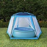abri Piscine Hors Sol, Tente de Piscine Tissu 590x520x250 cm Bleu