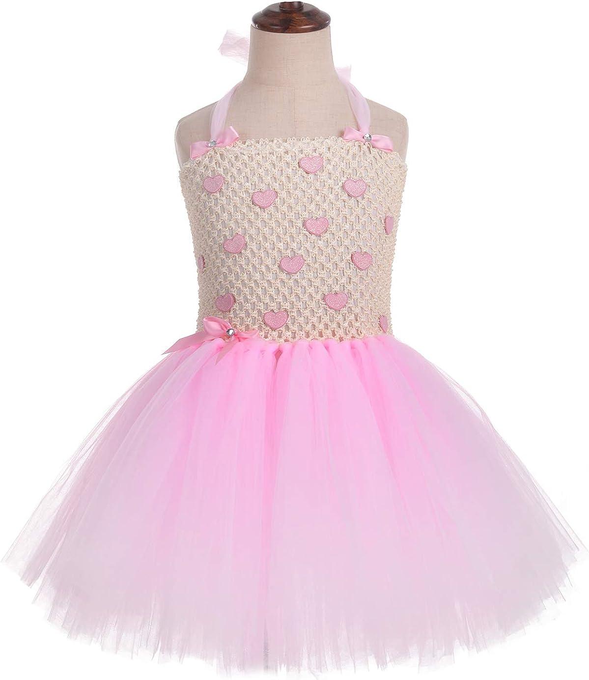 Tutu Dreams Pink Hearts Tutu Dress for Girls Princess Dress Up Birthday Tea Party