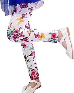 Hopscotch Girls Milk Fiber Butterfly Print Leggings in White Color