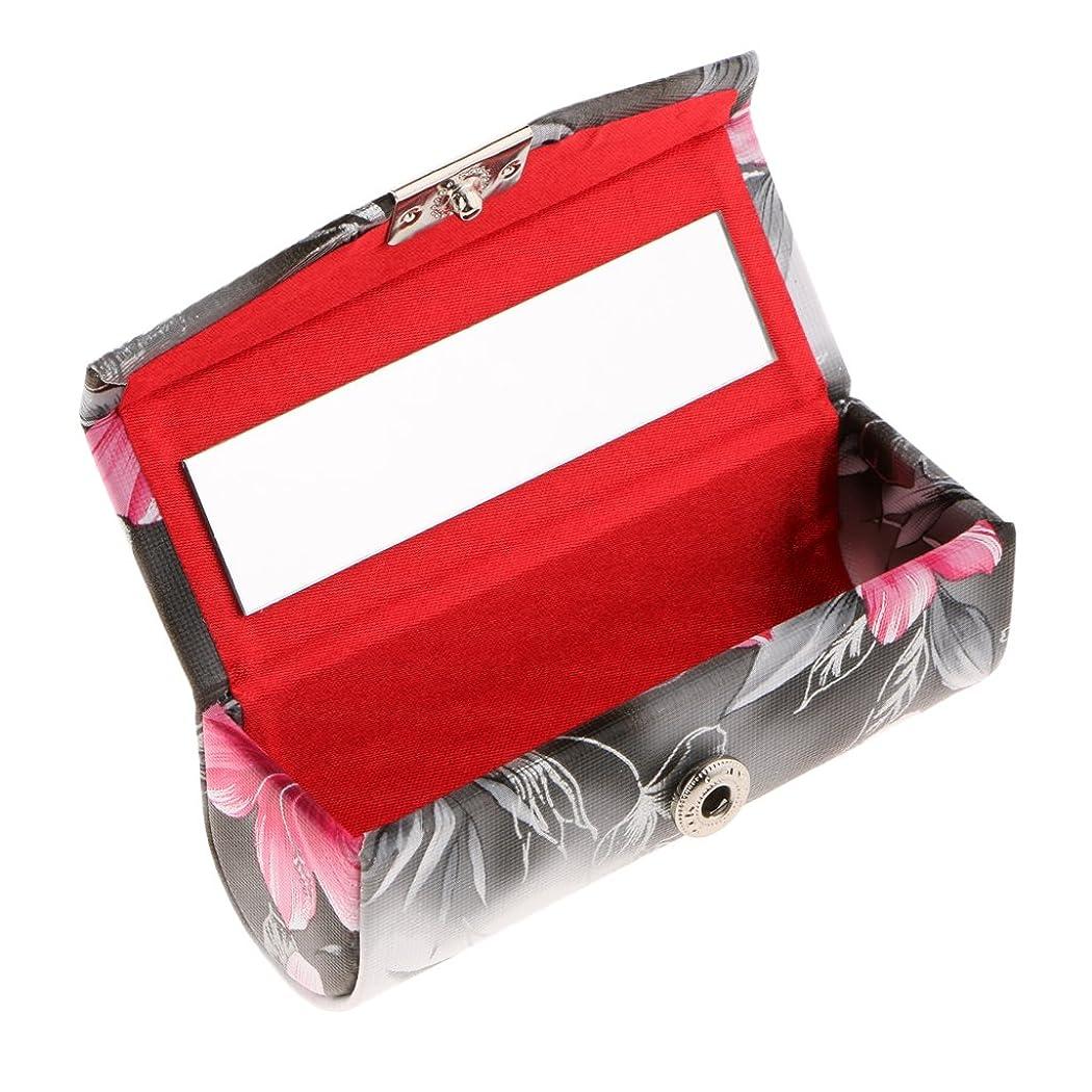 抜け目のないダイヤルスペインCUTICATE 口紅ケース 化粧ポーチ ミラー付き リップスティックホルダー レトロ プレゼント 全3色 - ブラック