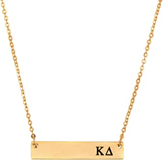 Kappa Delta 24K Gold Plated Horizontal Bar Necklace Greek Sorority Letter with Adjustable Chain KD