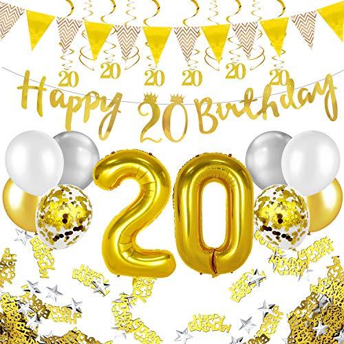Humairc 20 ans anniversaire blanc or décorations, 20e HAPPY BIRTHDAY bannière Triangle drapeau 6pcs Chiffre suspendu tourbillon, Ballon Chiffre 20, 8pcs Ballons Confetti - Homme femme