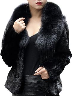 Mujeres Imitacion Faux Pelo Cuello Manga Larga Abrigo Corto Chaqueta Outwear