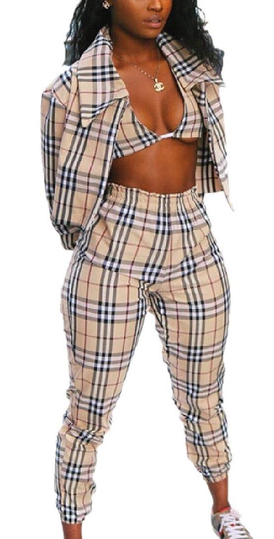国歌手当メニューWomen 3 Piece Set Crop Top Long Pants and Long Sleeve Blazer Outfit