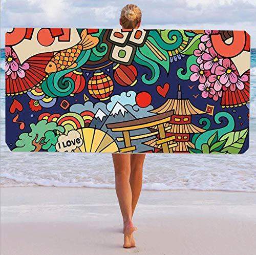 Toallas de Playa 3D Toalla de Playa de Microfibra 80 x 160 cm Supersuave Toalla Deportiva Secado Rápido Absorbente para Deportes, Viajes, Camping Esterilla de Yoga Graffiti Verde