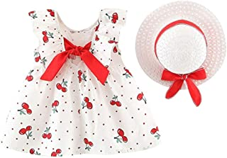 Christmas Merry Wishes 2020 New Girls Princess Dress for Toddler Baby Girls Sleeveless Cherry Dot Dresses + Bow Hat Outfit...