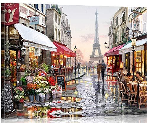 Suntown Holzrahmen Malen nach Zahlen 40 x 50cm DIY Leinwand Gemälde für Erwachsene und Kinder mit 3 Bürsten und Acrylfarben - Unsere Erinnerungen in Paris (Leinwand ist Vormontiert)