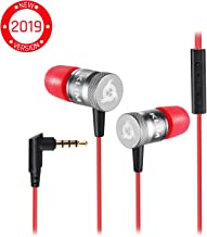 KLIM Fusion Earbuds with Mic Audio - Long-Lasting Wired Ear Buds + 5 Years Warranty - Innovative: in-Ear with Memory Foam Earphones with Microphone - 3.5mm Jack - New Earphone 2019 Version - Red