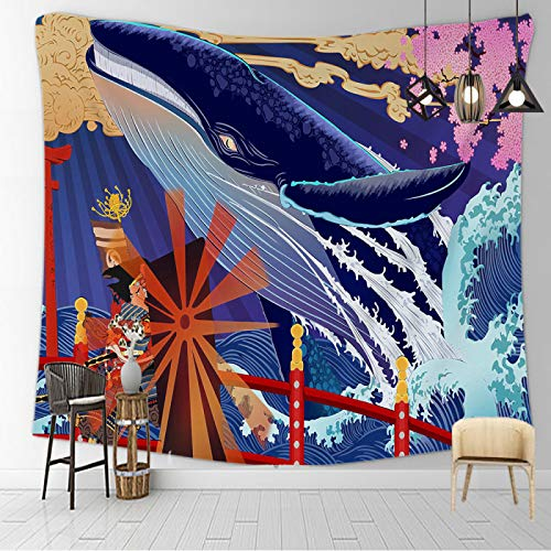 CNYG Manta psicodélica Kanagawa Wave Print Suspensión Manta Colgante de Pared Cama Bohemia Colgante de Pared Decoración del hogar Tapiz de Dormitorio Gatto Notturno e balena 150x200CM
