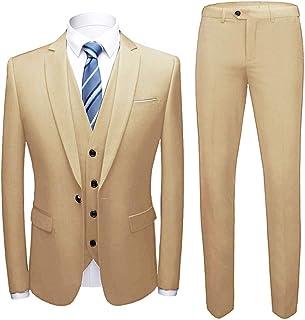 Frank Men's Slim Fit Suit Blazer Jacket Tux Waistcoat Pants 3 Pieces Suit Set