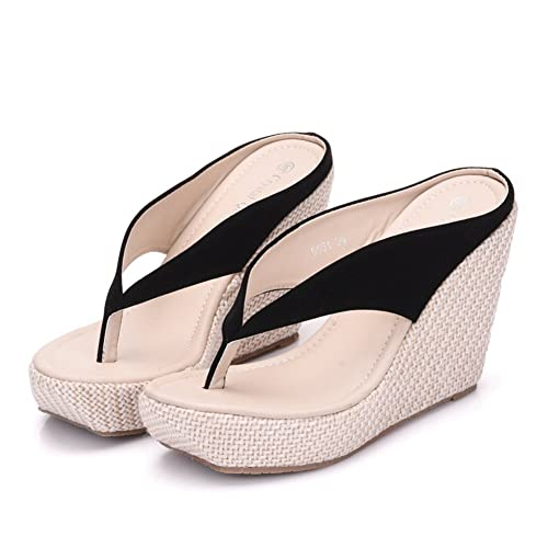 ee7b04b925d713 Crystal Queen Women Beach Sandals Platform Wedges Sandals High Heels Wedges  Slippers Flip Flops White Flip