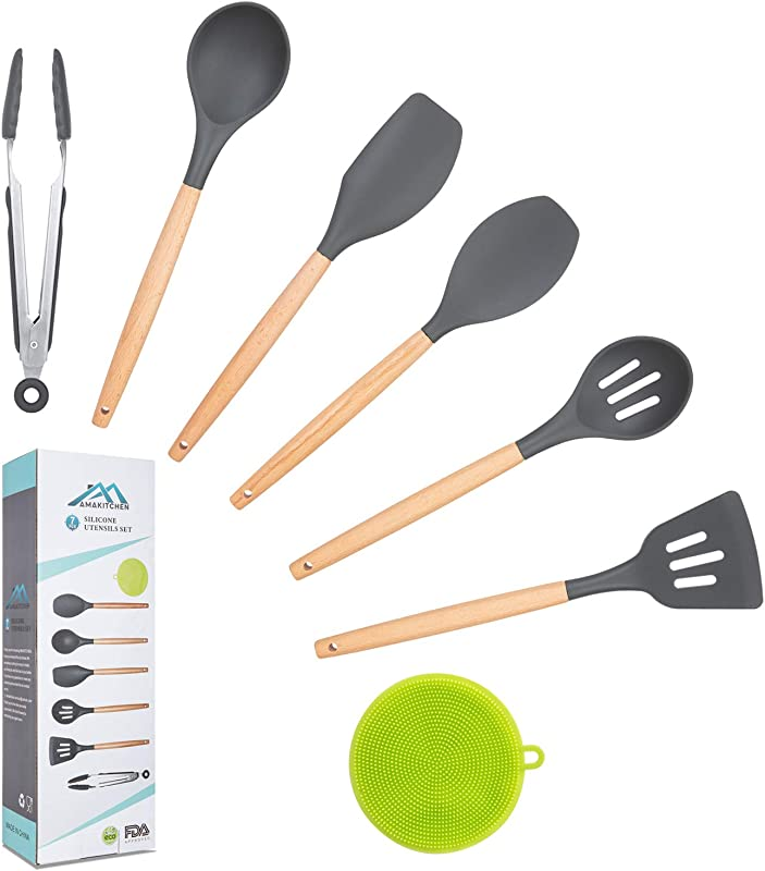 Kitchen Utensil Set Silicone Cooking Utensils With Wooden Handles 7PCS Kitchen Tools Spatula Set For Nonstick Cookware Apartment Essentials Gifts