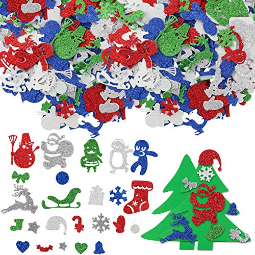 FHzytg 300 Stück Sticker Glitzer Sticker Weihnachten, Glitzernde Aufkleber, Weihnachts Sticker Glitzer Sticker Bunt für Weihnachtliche Bastelarbeiten und Dekorationen