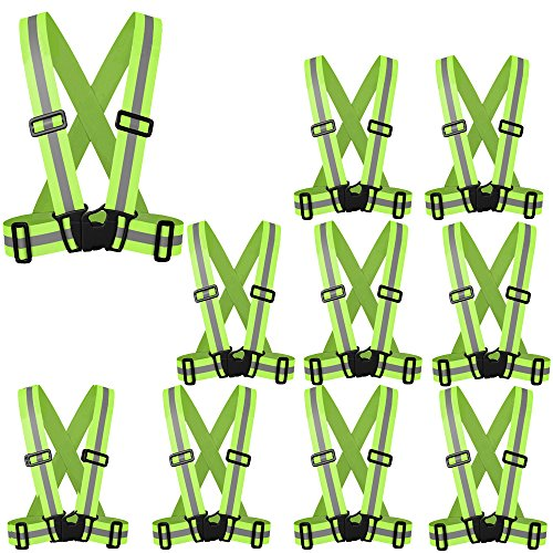 ZOJO Reflective Vest   Lightweight, Adjustable   Safety & High Visibility for Running,Fits Outdoor Cloth Pack of 10, Neon Yellow)