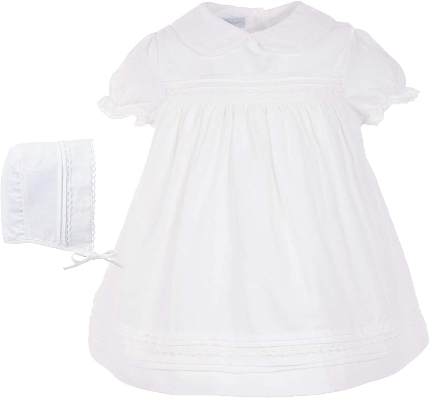 Carriage Ranking TOP6 Boutique Baby Girl White Max 68% OFF Dress Lace with Bonnet