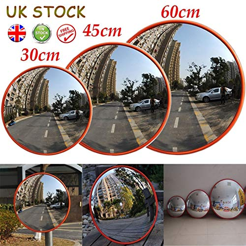30cm Unbreakable Convex Traffic Mirror 130 Degree Blind Spot Mirror with Adjustable Wall Fixing Bracket Traffic Safe /& Market Anti-theft 2 Pack