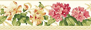 York Wallcoverings Casabella II Rhododendron Border Memo Sample, 8 by 10-Inch, Bright White, Watermelon, Papaya, Butterscotch, Beige, Various Green Hues