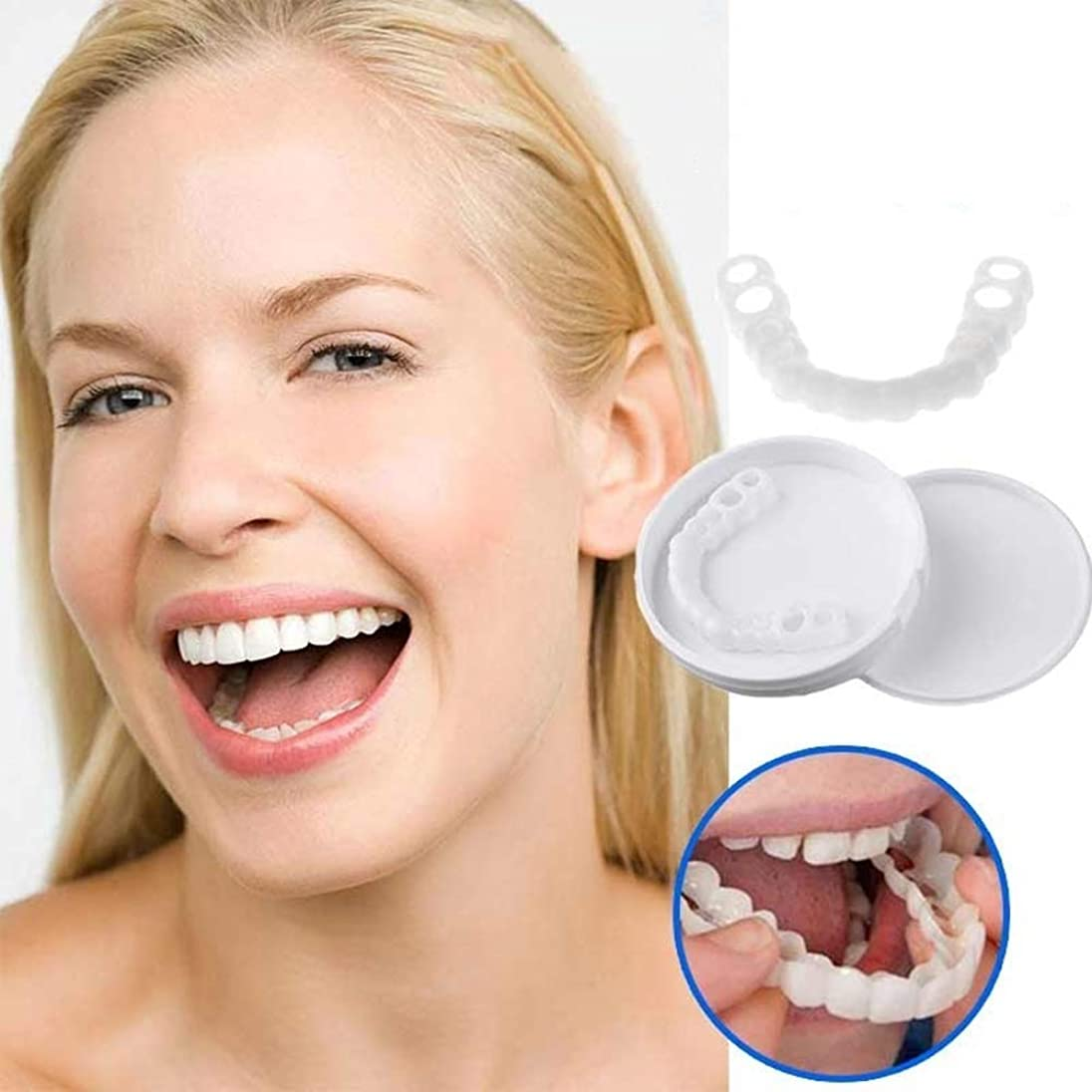 メンテナンスタオルウェブベニアの歯の1ペア、化粧品の歯 - 一時的な笑顔と快適なフィット柔らかい化粧品の歯、すべてが最もフィットし、快適な上下のベニヤ - 歯のベニア(下+上)