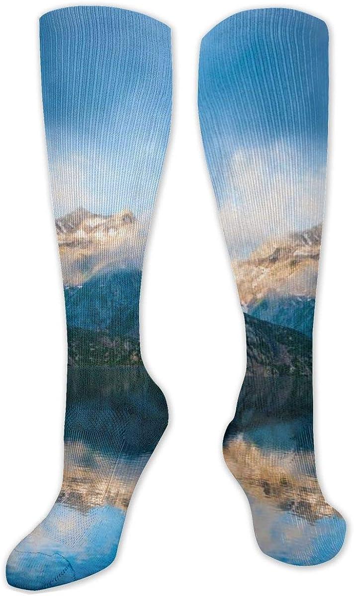 Green Mountain Fog Lake Knee High Socks Leg Warmer Dresses Long Boot Stockings For Womens Cosplay Daily Wear