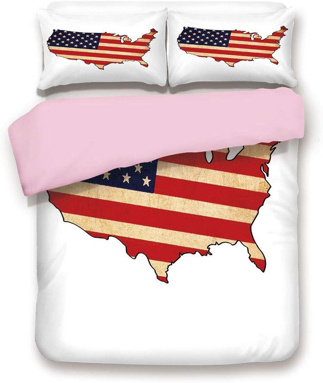 Pink Duvet Cover Set,Queen Size,Retro Toned States Flag Figure Vivid Vintage Old Fashion National Design,Decorative 3 Piece Bedding Set with 2 Pillow Sham,Best Gift For Girls Women,Sand Brown Indigo R