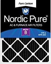 Nordic Pure 14x20x1 MERV 8 Pure Carbon Pleated Odor Reduction AC Furnace Air Filters 3 Pack