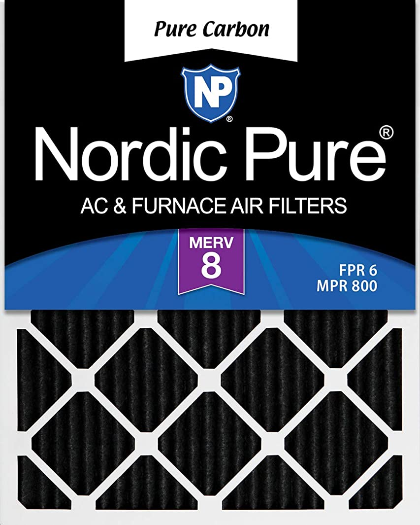 Nordic Pure 16x20x1 Pure Carbon Pleated Odor Reduction AC Furnace Air Filters, 16x20x1PCP-2, 2 Piece