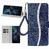 Miagon Glitzer Handyhülle für Huawei P40 Lite E,Fischschuppen Bling Brieftasche Pu Leder Klapphülle Case Glänzend Magnet Cover mit Tasche und Handschlaufe,Blau