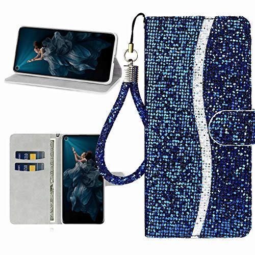 Miagon Glitzer Handyhülle für Huawei P40 Lite,Fischschuppen Bling Brieftasche Pu Leder Klapphülle Case Glänzend Magnet Cover mit Tasche und Handschlaufe,Blau