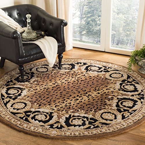 Safavieh Naples Collection NA712A Handmade Black and Gold Wool Round Area Rug, 4 feet in Diameter (4' Diameter)
