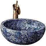 GAOLI Vintage Keramik Kunst Waschbecken, Waschbecken, Runde Badezimmer Theke, Antique Waschbecken Home, Marmor Bad Zähler Becken