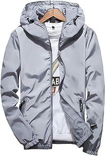 Men's Windbreakers Active Coat, Solid Color Windproof Hooded Outwear Outdoor Windbreakers Spring Fall Coat with