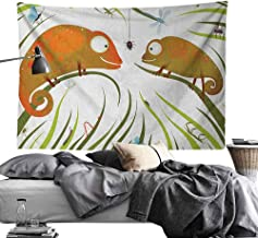 Maureen Austin Watercolor Tapestry Chameleons,Hungry Animals Grass Looking at Spider Insect World Illustration Worm Ladybug, Multicolor,Living Room Bedroom Decoration Tapestry 91