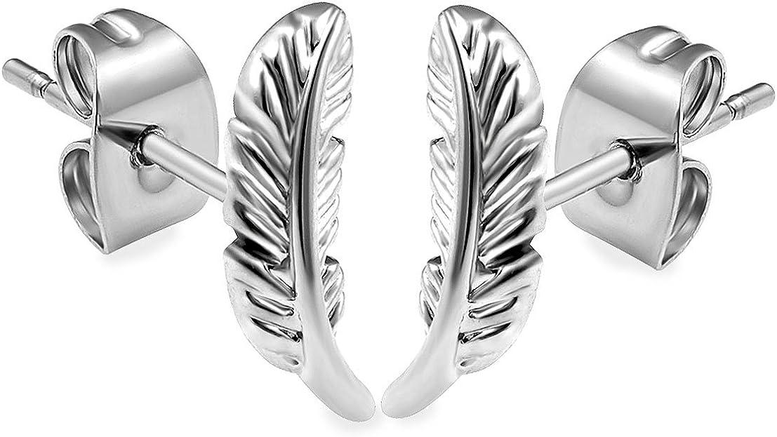 2pcs 20g 3/8 Stud Earrings Cartilage Lobe Gauges Surgical Stainless Steel Leaf Ear Plugs Piercing Jewelry