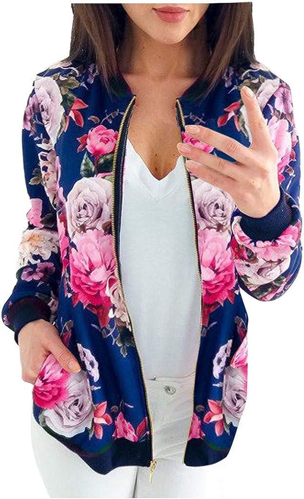 Women Retro Floral Zipper Bomber Jacket Long Sleeve Casual Chic Coat Streetwear