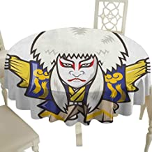Cranekey Tablecloth 70 Inch Kabuki Mask,Character with Kimono Costume Orient Elements Edo Era Arts Theater Play Print Multicolor Perfect for Spring,Summer,Farmhouse Décor,& More