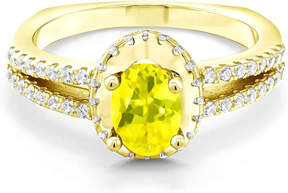 Gem Stone Ranking TOP14 King 18K Yellow Gold Plated Max 41% OFF Silver C Ring 1.30 Ct Oval