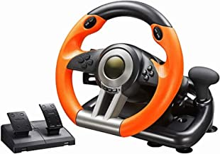 DYYD Pc Steering Wheel Game Degree Motor Vibration Driving Gaming Racing Wheel with Responsive Gear and Pedals for PC/PS3/...