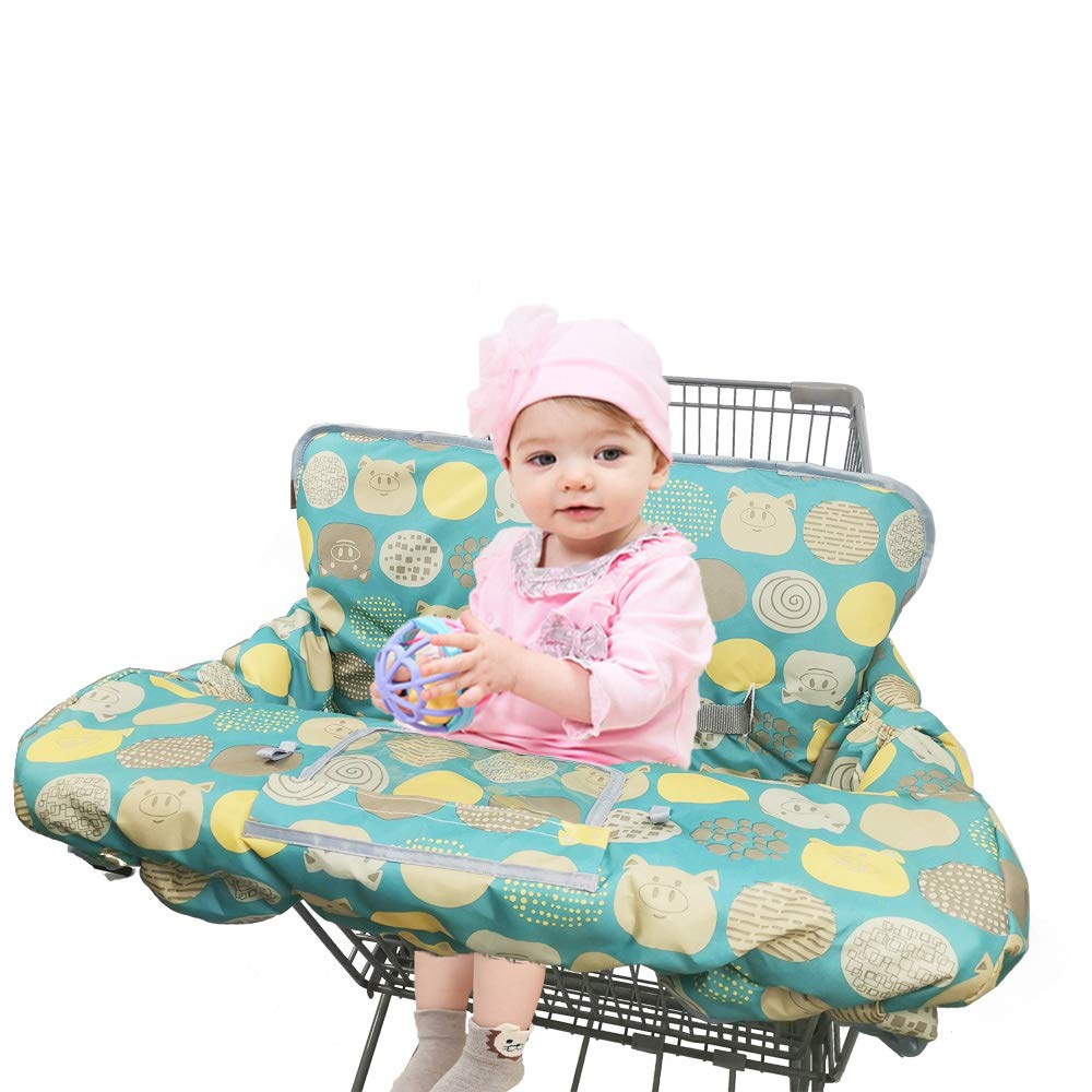Shopping Cart Covers for Baby Girl boy, Large High Chair Cover with Cell Phone Holder for Toddler boy Girl, Grocery Cart Cover, Padded(Polka Cute)