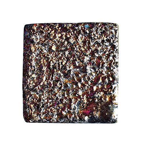 Cabujón de titanio, tamaño 26 x 25 x 8 mm, hecho a mano, para hacer joyas, colgante de piedra, rodaja de geoda AG-12453