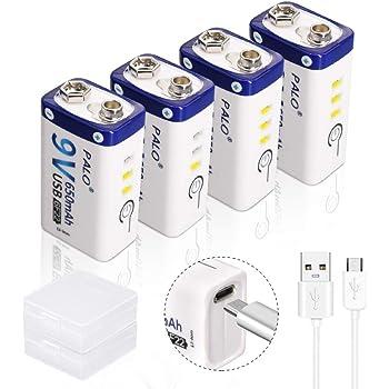 Bassa Autoscarica Cavo di Ricarica USB Incluso Densit/à Alta Energia-500 Cicli di Ricarica 9V Batteria Li-ion Ricaricabile Keenstone 3pcs 800mAh 9V PP3 Batterie agli Ioni di Litio Caricabatteria