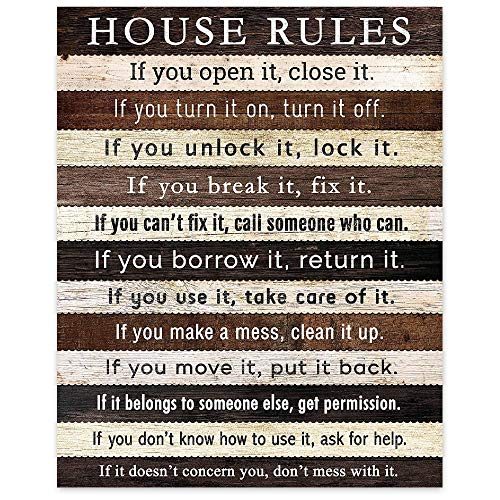 Funny Kitchen House Rules Poster Prints, Set of 1 (8x10) Unframed Photo, Farmhouse Wall Art Quote Decor Gifts Under 15 for Home, Office, Man Cave, College Dorm, Apartment
