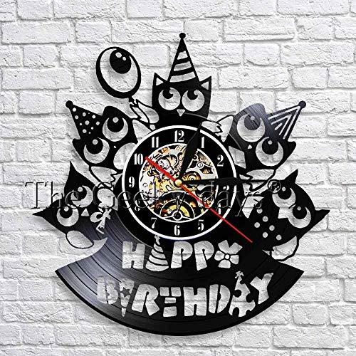 xcvbxcvb Feliz cumpleaños Reloj de Pared Fiesta Arte de la Pared Decoración Reloj de Disco de Vinilo Diseño Moderno Relojes de Pared 3D Regalo de cumpleaños Hecho a Mano