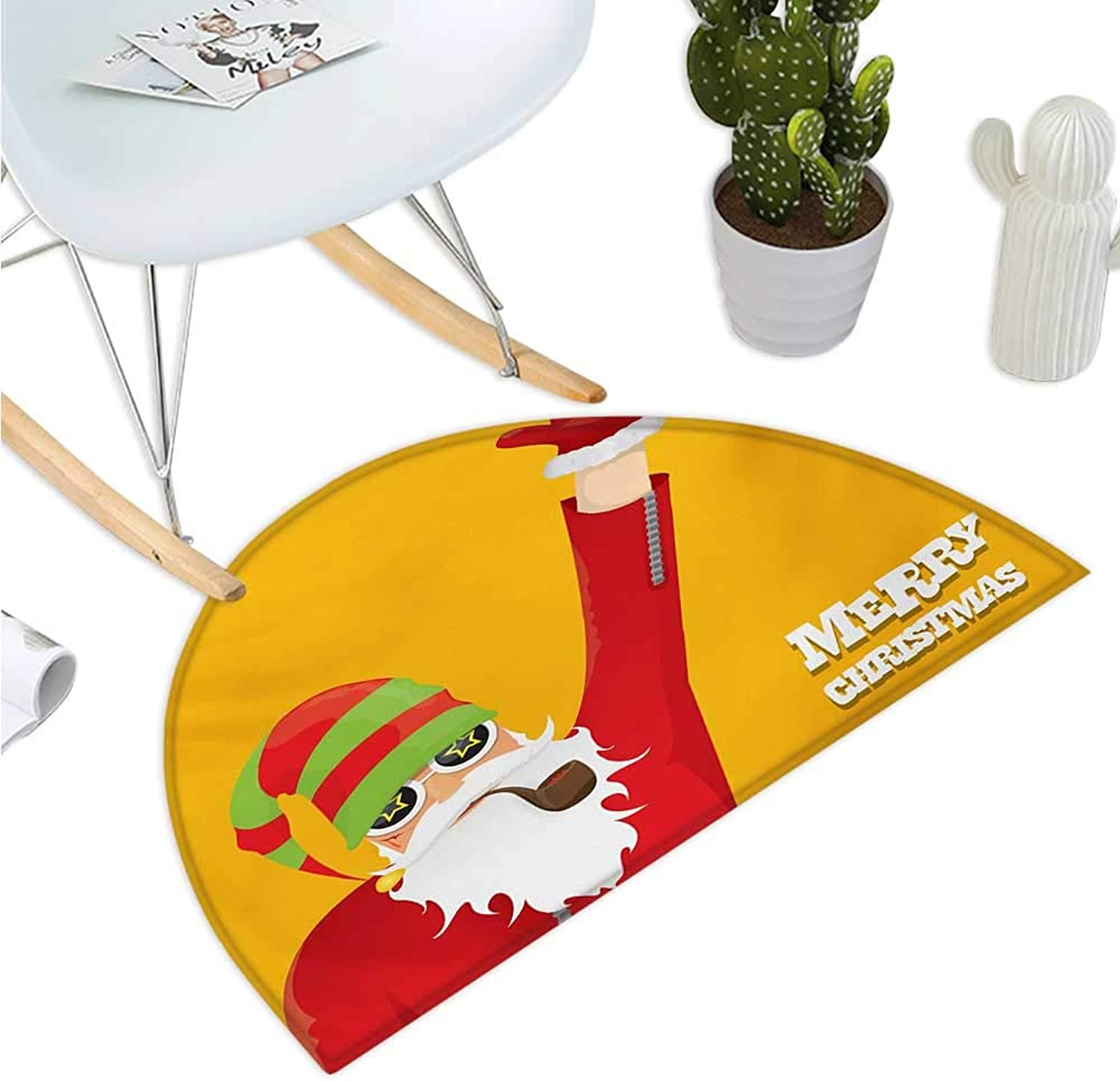 Indie Semicircle Doormat Biker Santa Claus Smoking Pipe with Hand Gesture Party Christmas Cartoon Halfmoon doormats H 43.3  xD 64.9  Marigold Lime Green