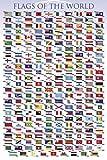 1art1 Flaggen Der Welt - Länder Fahnen Mit Hauptstädten, In Englisch Poster 91 x 61 cm