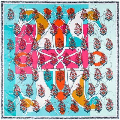 YDMZMS 130 x 130 cm herfst nieuw paard model stuurwiel 100% zijde sjaal twill sjaal dames hart hals bandana groot moslimindoek